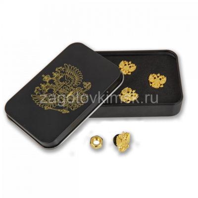 запонки герб золото 4 штуки в металлической коробке