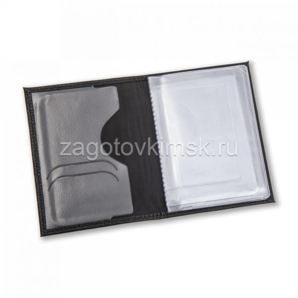 Обложка 2в1 для автодокументов из натуральной глянцевой кожи – Графит бордо