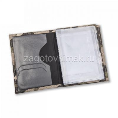 Обложка из кожи флотер 2в1 с паспортом цвет светлое хаки