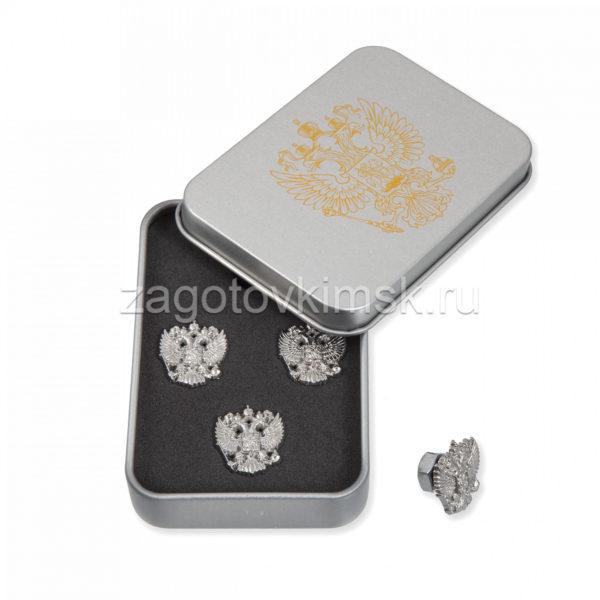 запонки герб серебро 4 штуки в металлической коробке