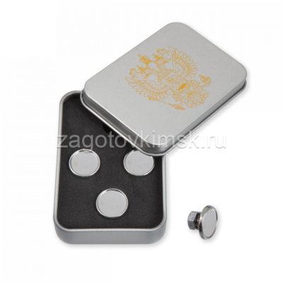 запонки под линзу серебро 4 штуки в металлической коробке