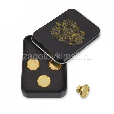 запонки под линзу золото 4 штуки в металлической коробке
