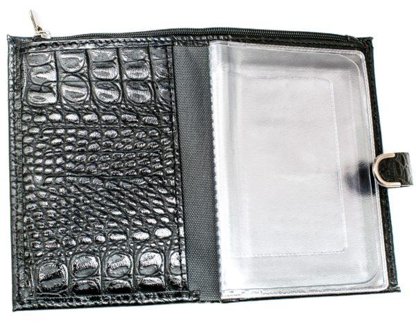 Обложка для автодокументов с портмоне — Кайман Чёрный