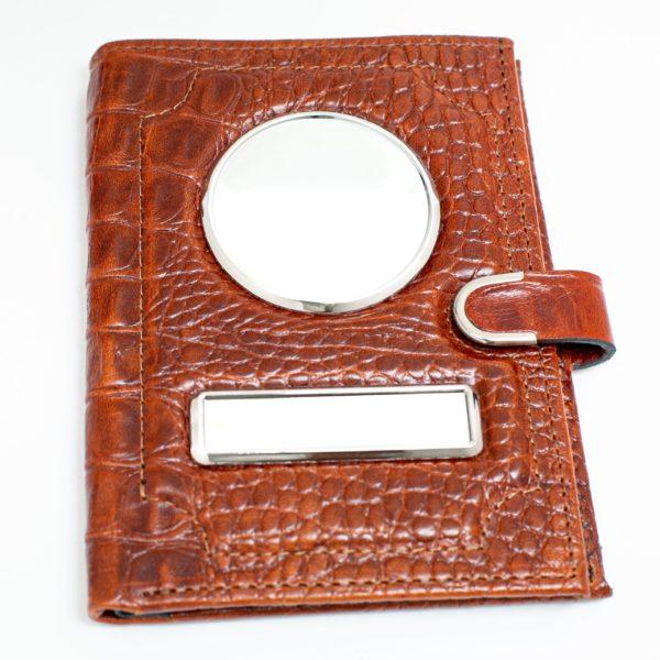 Обложка для автодокументов с портмоне — Кайман коричневый