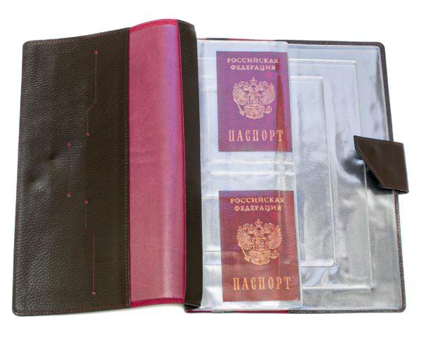Папка для хранения семейных документов (А4 нат.кожа Флотер) - Коричневая