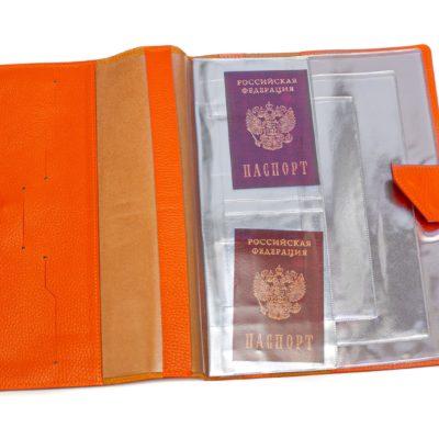 Папка для хранения семейных документов (А4 нат.кожа Флотер) - Оранжевая