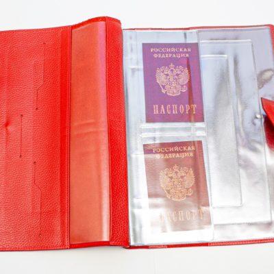 Папка для хранения семейных документов (А4 нат.кожа Флотер) - Красная