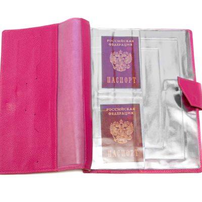 Папка для хранения семейных документов (А4 нат.кожа Флотер) - Розовая
