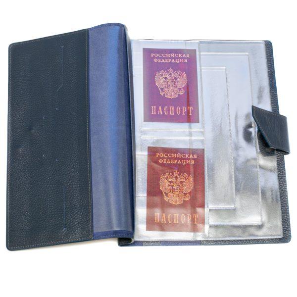 Папка для хранения семейных документов (А4 нат.кожа Флотер) - Синияя