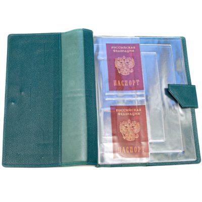 Папка для хранения семейных документов (А4 нат.кожа Флотер) - Тёмно-бирюзовая