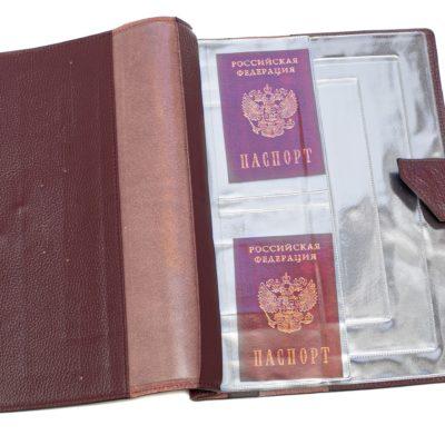 Папка для хранения семейных документов (А4 нат.кожа Флотер) - Тёмно-коричневая