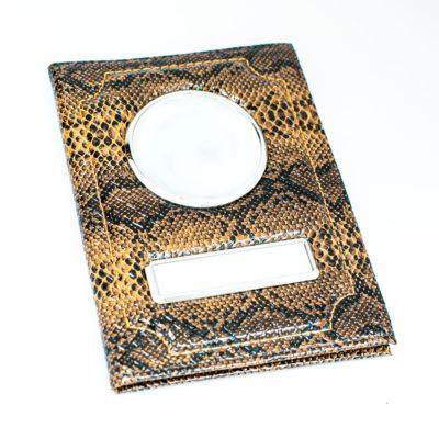 Обложка для автодокументов с портмоне — Рептилия Чёрно-коричневый